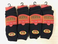 12 Pairs Mens Black Thermal Socks, Thick Warm Work Boot Socks Size 6-11 Heat