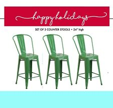 "Set of 3 • FRESH Christmas GREEN Metal Kitchen counter height 24"" bar stools"
