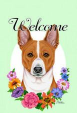 Welcome Flowers Garden Flag - Basenji 631721