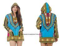 Damen Kapuze Lang Mantel Jacke Top Afrikanische Aufdruck Dashiki Ärmel Minikleid