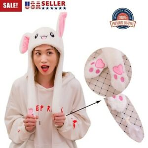 Bunny Hat Light Up Cute Plush Rabbit Hat Moving Ears With Colorful LED Light USA