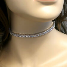 Fabulous PU Leather Wrap Choker with Baguette Crystals