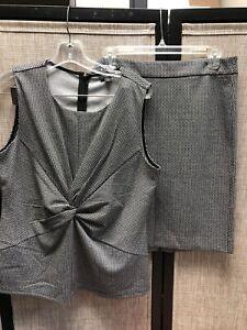 ann taylor 2 piece suit 12P, black/gray
