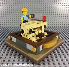 LEGO CUSTOM -- SERIES 13 CARPENTER MINIFIGURE W/ WOODWORKING TABLE DISPLAY MOC