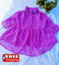 CHEROKEE Kids Girl Ruffle TOP, ROUND COLLAR color purple size 7/8
