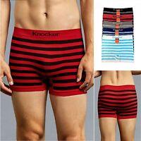6 PK Men's Seamless STRIPED Compression Boxer Briefs Microfiber Underwear MS016M