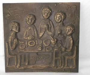 """XXL Bronze Relief  """"Tischgebet"""" """"table grace"""" EGINO WEINERT, ca 17x16cm, Plaque"""