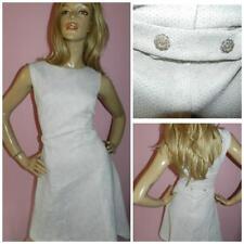 60s WHITE GREY SILVER GLITTER DOLLY MOD COCKTAIL DRESS 10 S 1960s MODETTE