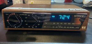 Vintage Sony EZ-4 Dream Machine AM FM Digital Alarm Clock Radio Simulated Wood