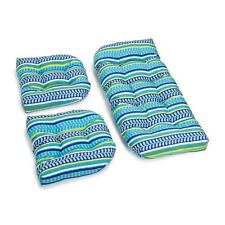 OUTDOOR ALL WEATHER 3 pc WICKER SETTEE CHAIR CUSHION SET Blue Leafy Stripe