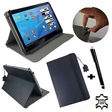 "8 inch Genuine Leather Case For Archos Elements 80b Platinium - 8"" Black"