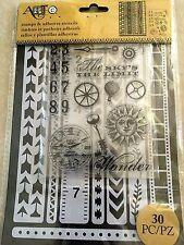 Art-C Clear Acrylic Stamp & Adhesive Stencil Set Border Stripes 30-pc 26879 NEW
