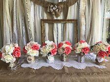 Coral Ivory Flower Wedding Centerpiece Bouquet Burlap Lace Cans Jars