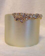 "ALEXIS BITTAR Cream LUCITE Crystal Encrusted CUFF Bracelet - 2.25"" Wide"