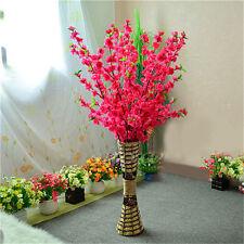 50'' Artificial Cherry Spring Plum Peach Blossom Branch Silk Flower Tree Decor+