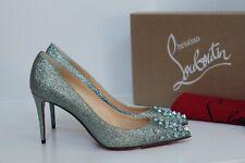 sz 8.5 / 39 Christian Louboutin Ice Blue Glitter Silver Drama Spike Pump Shoes