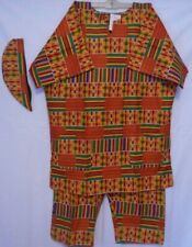 Men's Kente Dashiki Clothing African Traditional Pant Suit Ethnic Set free Size