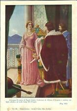 Stampa antica GIOVANNA II regina di NAPOLI 1931 Old antique print