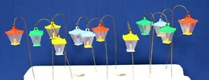 Lot o 12 Hard Plastic Miniature Candle Lanterns HK 60s Ornament Charm Dollhouse
