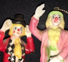"""3.25"""" Lot of 2 Bisque Porcelain Clowns FIGURINE Mary Kern WILLITTS 5850 Ornament"""