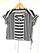 BCBG MAXAZRIA Striped Drawstring Blouse Black White Sheer Size XXS