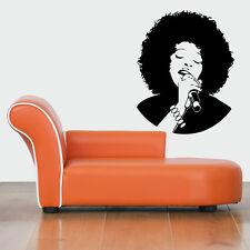 Wall Vinyl Sticker Decals Mural Design Beautiful Jazz Afro Singer Woman #411