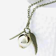 Stylish Harry Potter Quidditch Wings Golden Snitch Pendant Silver Necklace Gifts Antique Brass