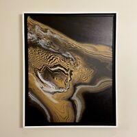 Black Gray & Gold Abstract original Contemporary acrylic painting | ships free