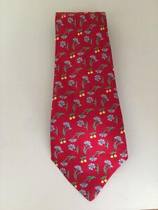 Cravate Hermès en soie motifs fleuris