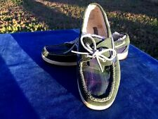 SPERRY TOP SIDER Fur Lined Plaid Leather Loafers Boat Deck Womens Shoes Sz 8.5