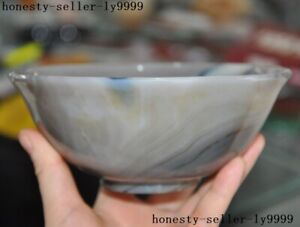 """5.6"""" Chinese palace dynasty Natural Agate Onyx Hand-carved Tea cup Bowl statue"""