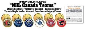 ALL NHL CANADA HOCKEY TEAMS Canadian Quarter 6-Coin Set 24K Gold Plated LICENSED