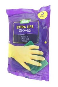 EXTRA LIFE GLOVES SMALL TAILORED FIT COTTON LINE NON SLIP WASHING UP GLOVES NEW