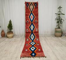 Vintage Handmade Moroccan Boujad Runner 2'2x10'9 Geometric Red Blue Berber Rug