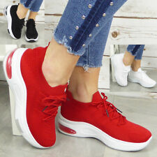 Ladies Sock Trainers Sneakers Lace Up Womens Jogging Plimsole Pumps Shoes Sizes