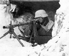 """German Soldier in Snow Gear taking aim with Machine Gun 8""""x 10"""" WWII Photo 331"""
