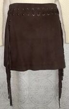 Essentiel Antwerp Goat Leather Skirt Brown Fringe Mini  Size 36 US -2