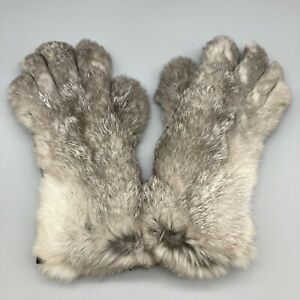WW2 1940s CC41 Grey Fur Leather Teddy Gloves Utility Label Inside Small Size