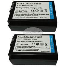 2 Pcs NP-FW50 Battery for SONY NEX-6 NEX-3N NEX-5T Alpha a7 a3000 a5000 a6000