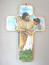 """Jesus with Children Picture Wall Cross on Wood  5"""" Made in Italy"""