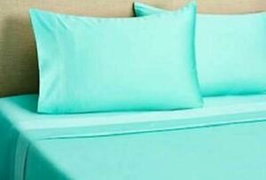 Aqua Solid Attached Waterbed Sheet Egyptian Cotton Queen/King/Cal.King