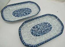 """Set of Two Myland Blue Floral Serving Platters 12"""" X 7"""" Kitchenware Servingware"""
