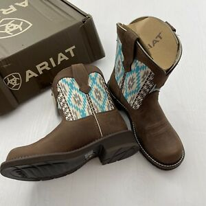 Ariat Womens Aztec Twill Fatbaby Western Brown Boots Size 7