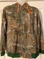 Realtree Size L Camouflage Zip Up Hoodie w/Hunter Orange RN#147453