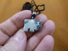 an-ele-29 Elephant Gray white Marble simple carving Pendant necklace gemstone