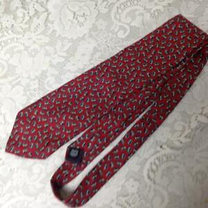 Christian Dior, Blue with White on Red Background- Silk Neck Tie 58in x 4in