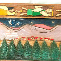 Folk Art Hand Carved Christmas Angel Flying Over A Village Trees Wall Plaque