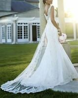 Elegant Lace New white/ivory wedding dress Bridal Gown Pageant Custom Size 6-18+