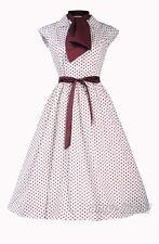 50S 60S Hepburn Vintage Dress Brown Polka Dot War And Peace S-6XL Retro  AF 3275