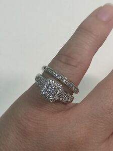 10k white gold diamond wedding set (2pcs) ring size 7